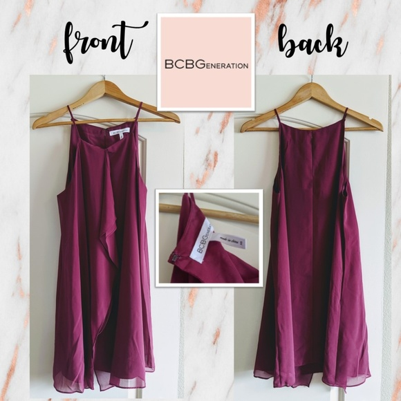 BCBGeneration Dresses & Skirts - BCBGeneration Wine/Berry Strappy Mini Dress!